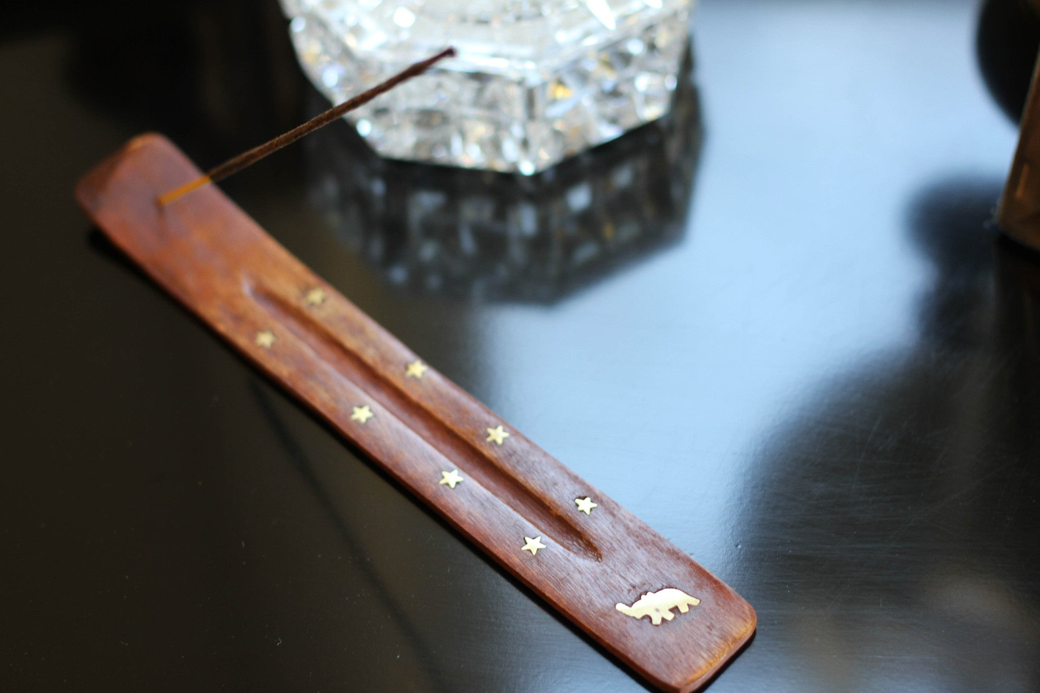 Incense Holder - wood & inlayed brass