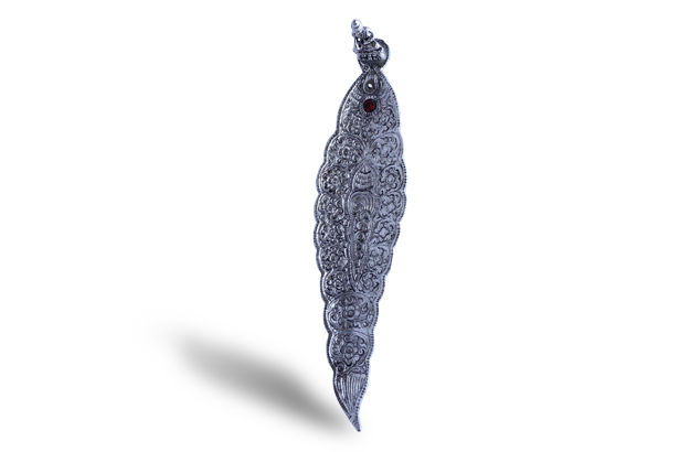 Incense Holder - Silver decorative metal leaf