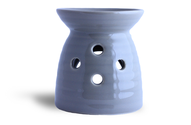 Aromatherapy Oil Burner - ribbed base grey/taupe
