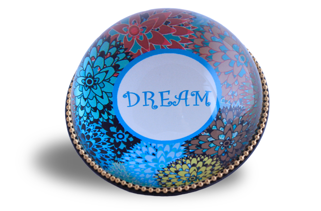 Glass & Brass Paperweight - Dream