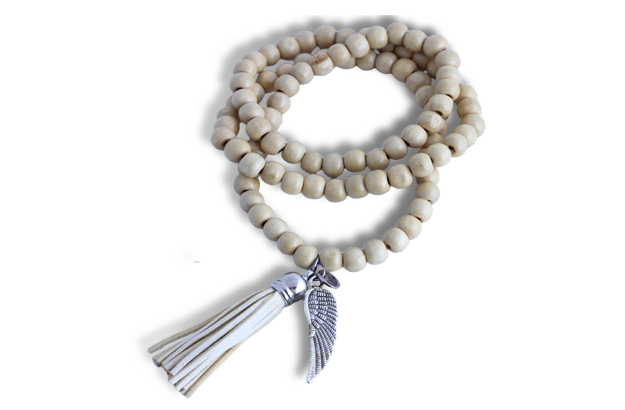 Wooden Bead Relaxation Necklace - cream