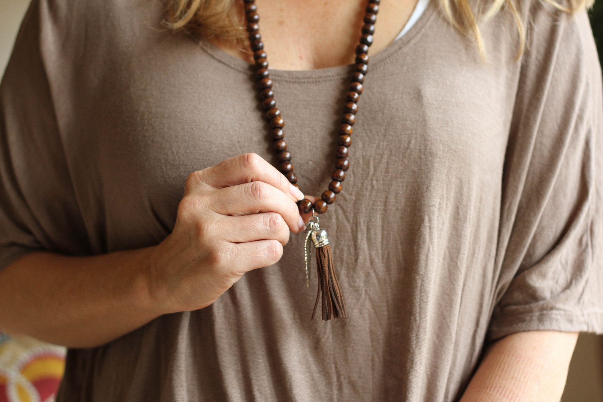 Wooden Bead Relaxation Necklace - brown
