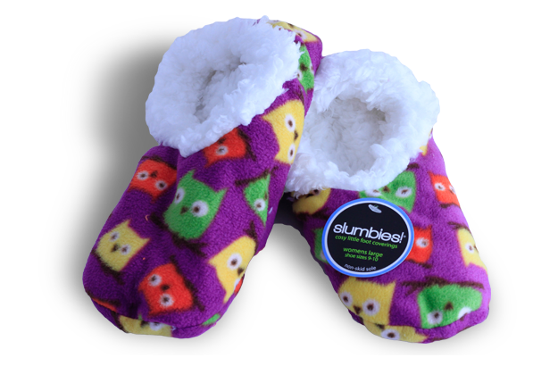 Soft Snuggly Slippers - Purple birds