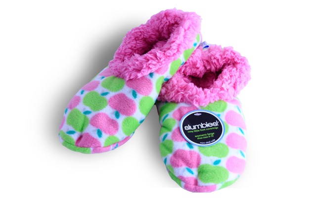 Soft Snuggly Slippers - Pink & green apples