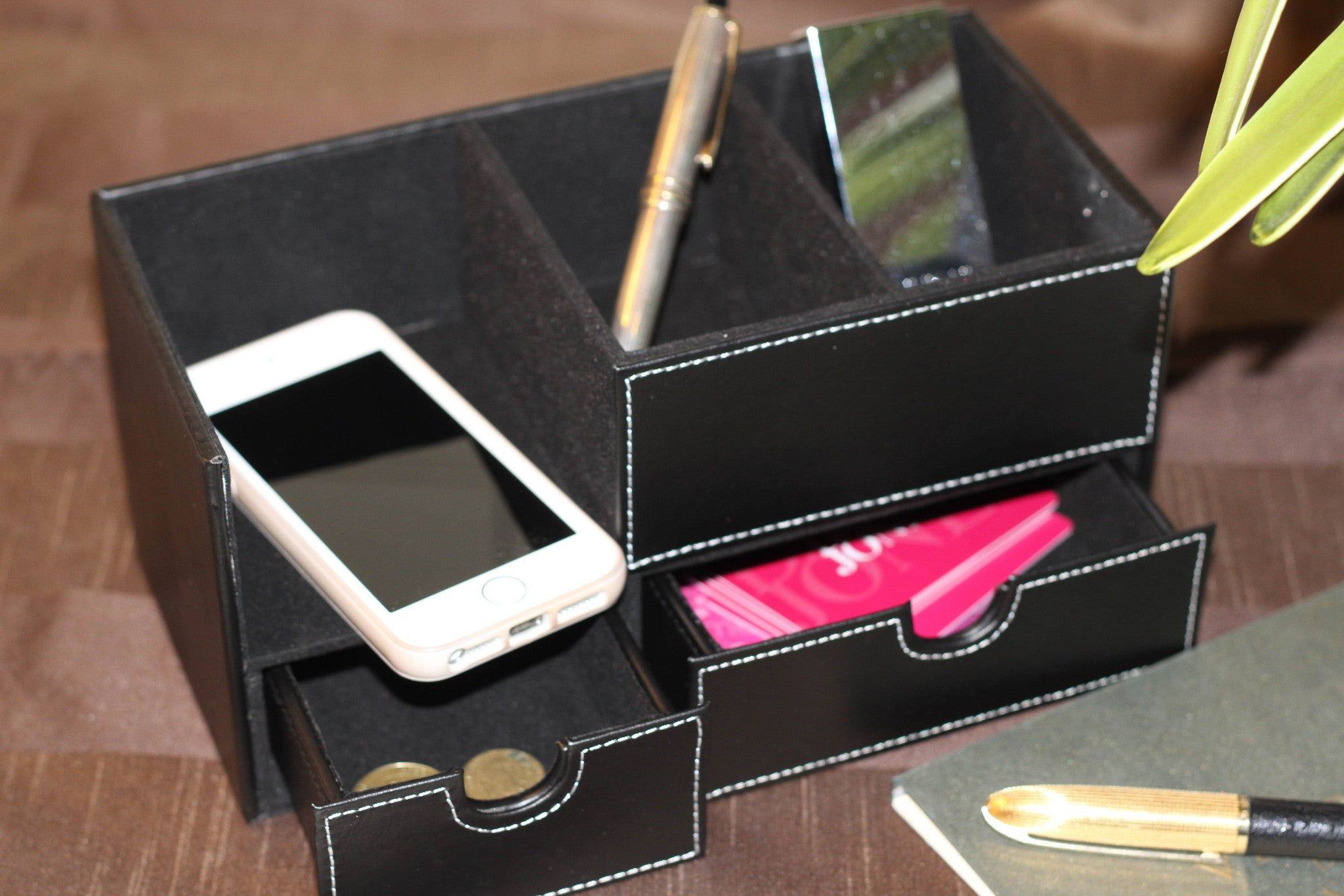 Desk Organiser - black leather