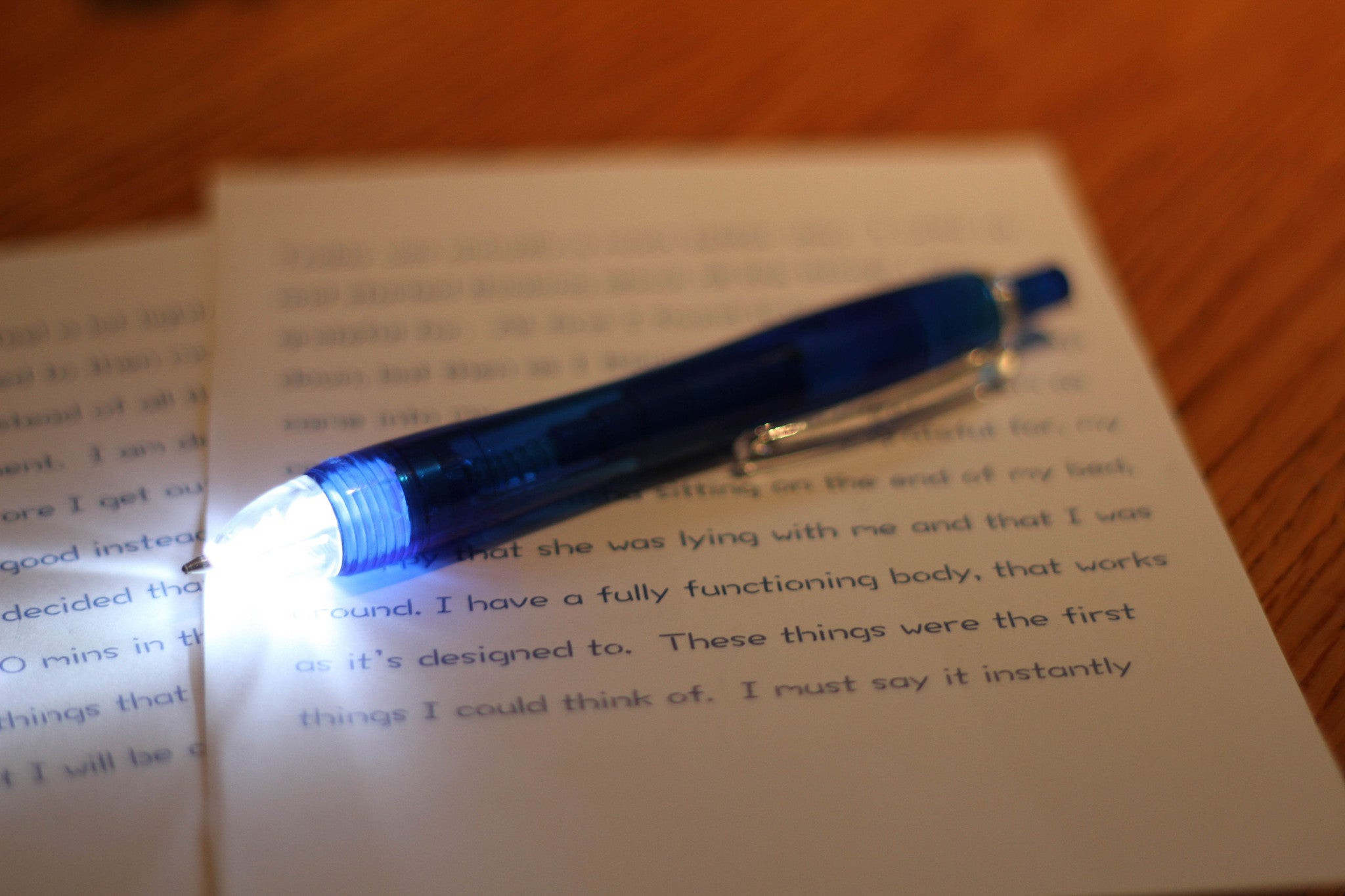 Pen with LED torch tip - Blue