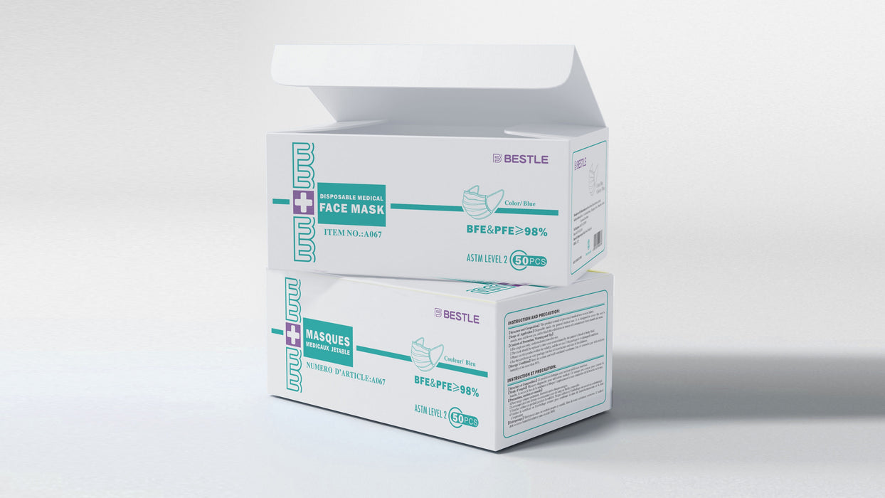 Disposable Medical Face Mask - ASTM Level 2 (Box of 50 pcs) - North York Medical Supplies