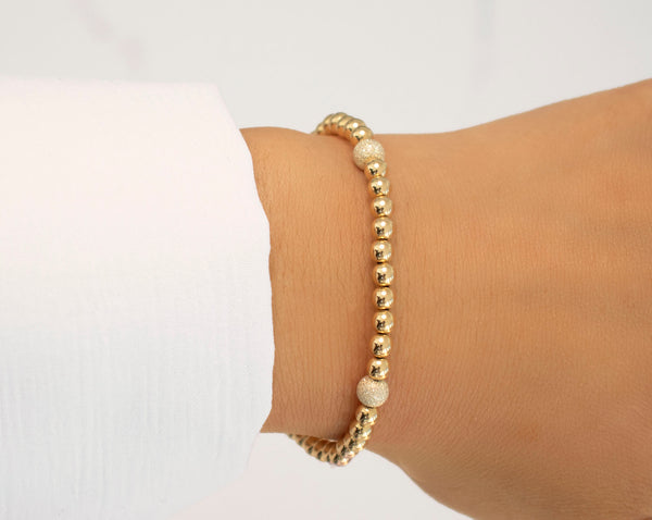 Yellow Gold and Silver Stardust Quad Beaded Bracelet