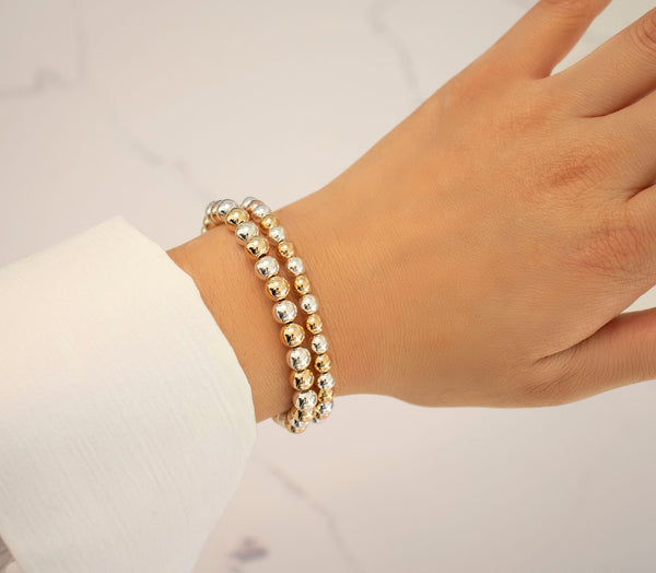6 MM Yellow Gold Filled & Sterling Silver Two Toned Beaded Bracelet