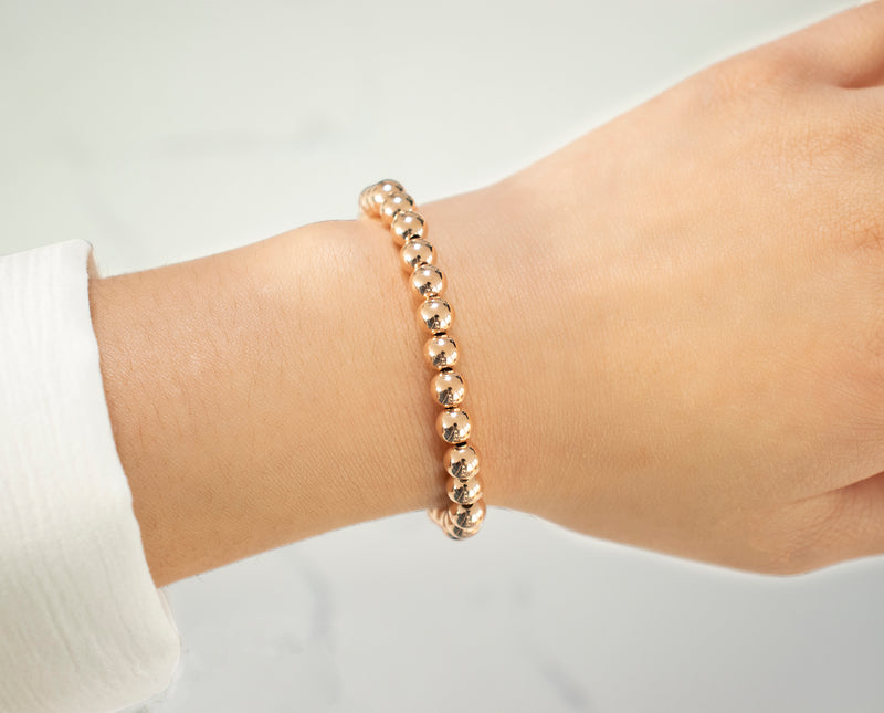 6 MM Rose Gold Filled Beaded Bracelet