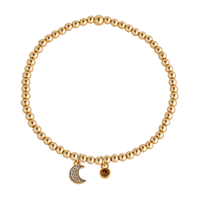 Moon Drop Gold-Filled Beaded Bracelet