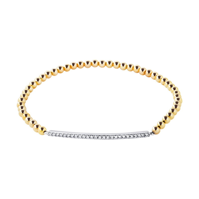 Thin Pave Bar Gold Filled Beaded Bracelet