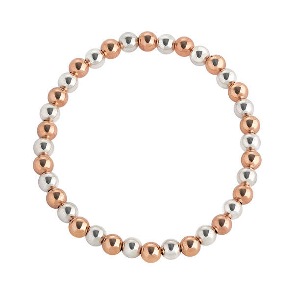 5 MM Rose Gold Filled & Sterling Silver Two Toned Beaded Bracelet