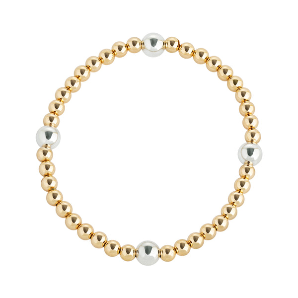 Yellow Gold and Sterling Silver Quad Beaded Bracelet