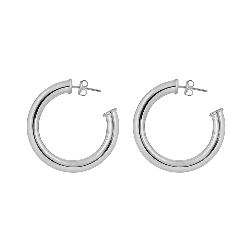 Large Sterling Silver Tube Earrings