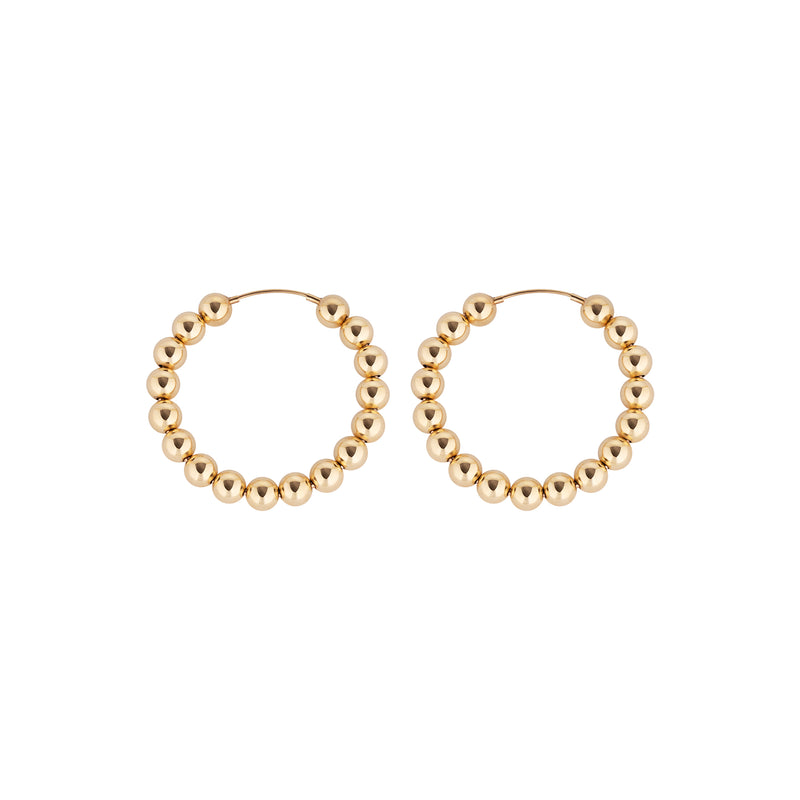 5 MM Gold Filled Beaded Hoop Earrings