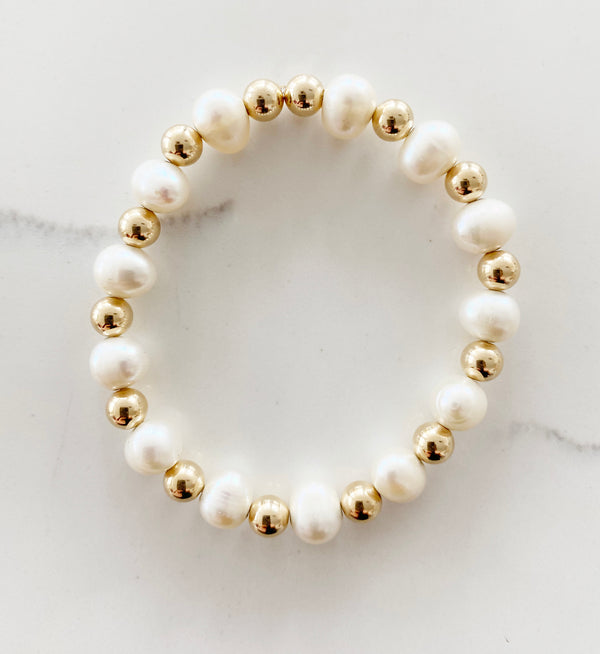 Two Toned Pearl and Gold Filled Bracelet