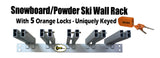 Snowboard/Powder Ski Rack (Wall Mount) with 5 Locks Included