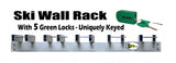 Ski Rack (Wall Mount) with 5 Locks Included