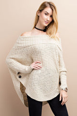 Oatmeal Off Shoulder Cowl Neck Knit Sweater