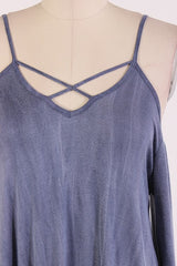 Denim Washed Long Sleeve With X Strings