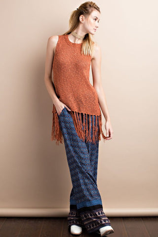 Sleeveless Fringe Knit Sweater