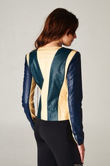 Leather Color Block Jacket
