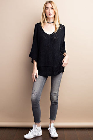 Soft and Slouchy Pull Over Sweater with Pocket