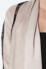 Soft Suede and Lace Draped Lapel Jacket