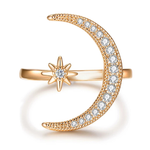 Load image into Gallery viewer, Moon & Star Ring (Size Adjustable)BUY ONE GET ONE FREE