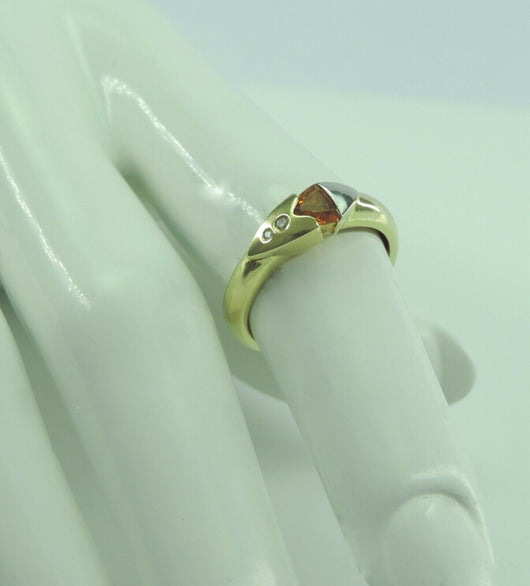 Damen Ring 585er Gold mit Diamant & Citrin - 56 (17,8 mm Ø) - Goldmax24