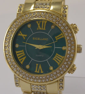 EXCELLANC DAMEN UHR GELB GOLD STRASS METALL - Goldmax24