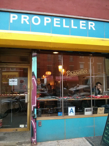 'Propeller'. They were using coffee from a local Brooklyn roaster,