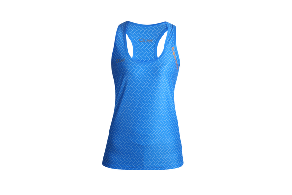 Women's OORR Cafe 'Herringbone Blue' Tech Tank
