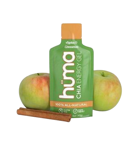 Huma Chia Energy Gel, Apples & Cinnamon, 12 Gels - Premier Sports Nutrition for Endurance Exercise