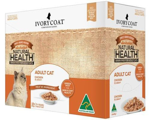 Ivory Coat Adult Cat Chicken Gravy 12 x 85g | Pet Food Leaders