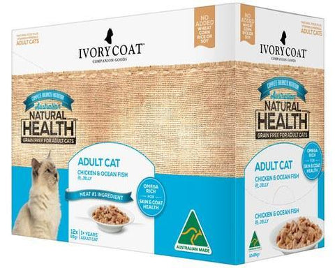 Ivory Coat Adult Cat Chicken & Ocean Fish Jelly 12 x 85g | Pet Food Leaders