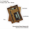 Personalized 3in1 Black Set Of Cradholder, Key chain & Pen Brown