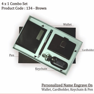 Personalized Wallet, Key chain, Pen & Cardholder Set Brown