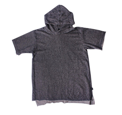 Madray Terry Short Sleeve Hoodie - Charcoal