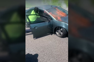 Quick acting strangers save man from burning vehicle