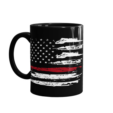 Thin red line flag coffee mug to show your support for firefighters and paramedics