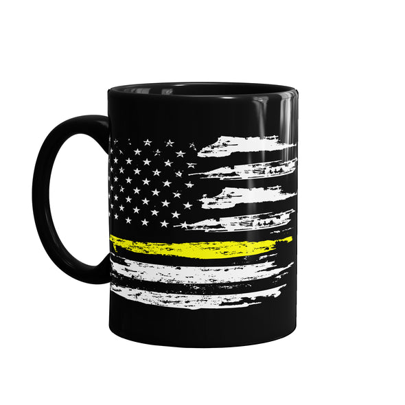 Thin yellow line flag coffee mug to support dispatchers, telecommunications and 911 emergency dispatchers.