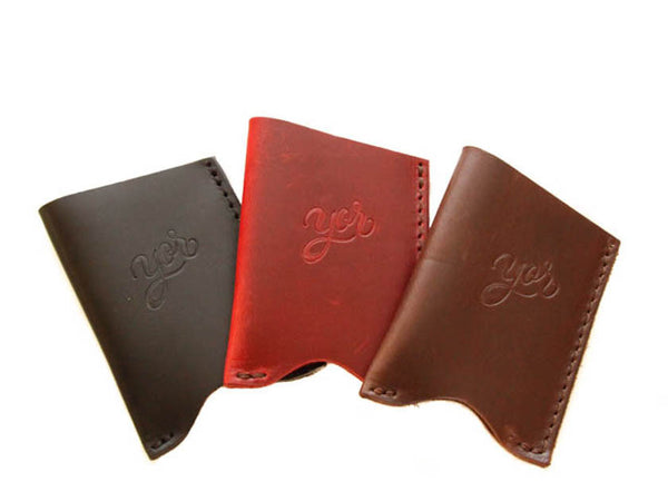 Leather Card Sleeve Wallet Red Wine Yor Leather Goods