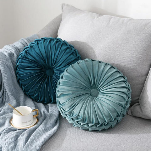 Oman Velvet Pleated Round Pillow (filled)