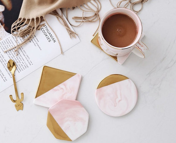 Marble Pink Gold Coasters