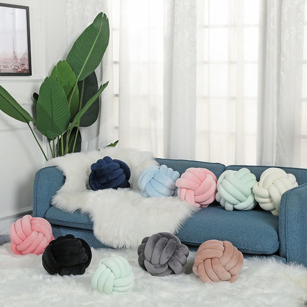 Plush Velvet Handmade Knot Pillow