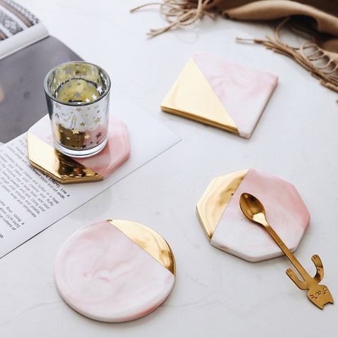 Gold Plated Marble Ceramic Coasters