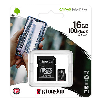 Kingston Canvas Select Plus Memory Card microSDHC 16GB (SD Adaptor Included)