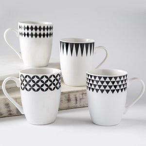 Monogram Mug Set Of 4-Assorted White